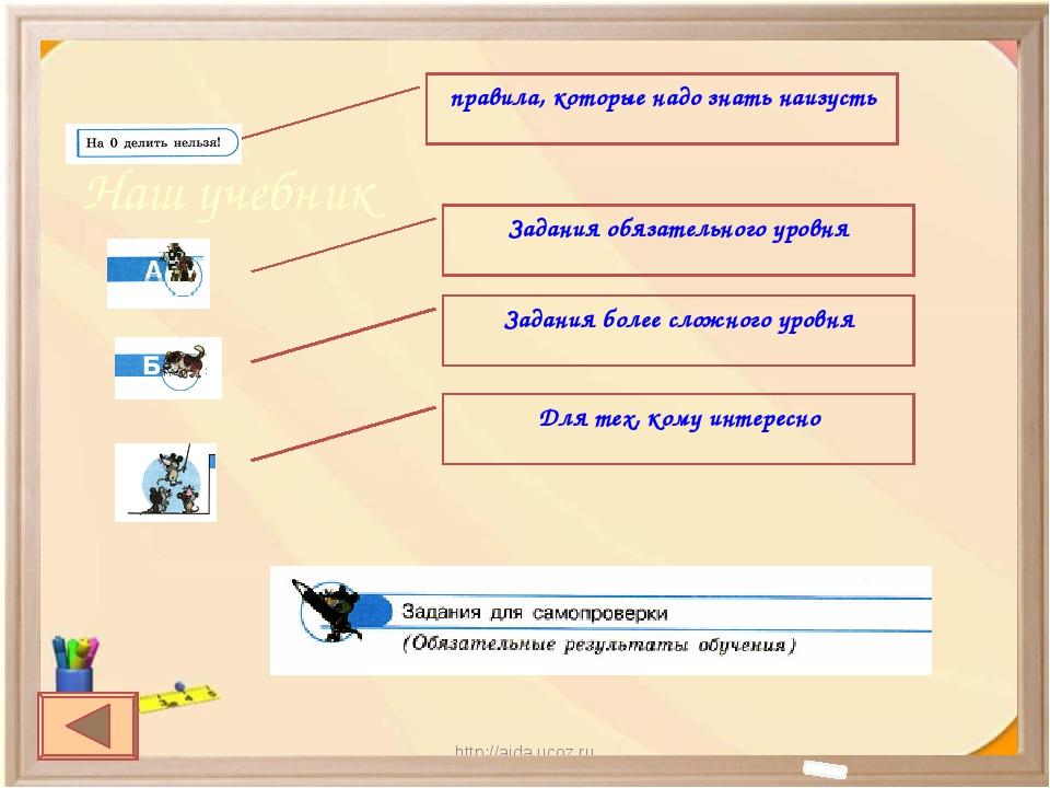 http://aida.ucoz.ru * Наш учебник правила, которые надо знать наизусть Задани...