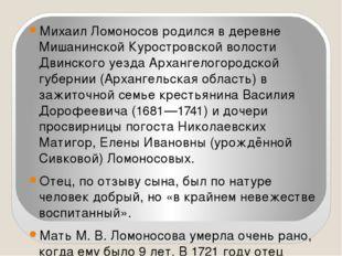 Михаил Ломоносов родился в деревне Мишанинской Куростровской волости Двинског