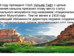 В 1909 году президент СШАУильям Тафтс целью сохранения каньона присвоил это