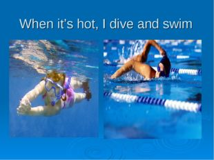 When it's hot, I dive and swim
