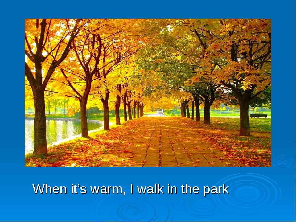 When it's warm, I walk in the park