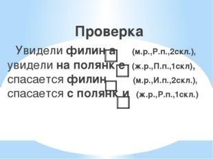 Проверка  Увидели филин а (м.р.,Р.п.,2скл.), увидели на полянк е (ж.р.,П.п.
