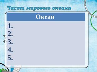 Океан 1. 2. 3. 4. 5.