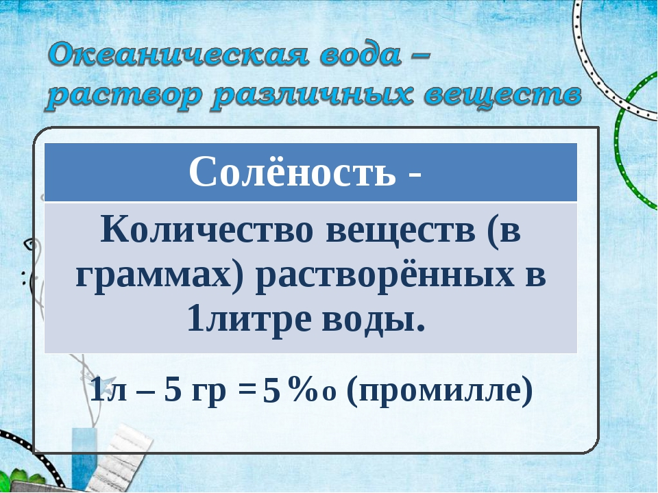 1л – 5 гр = %о (промилле) 5 Солёность - Количество веществ (в граммах) раство...