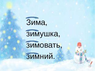 Зима, зимушка, зимовать, зимний.