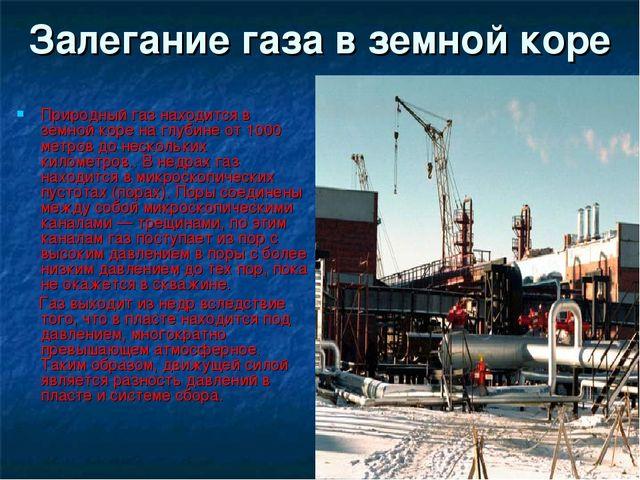 Залегание газа в земной коре Природный газ находится в земной коре на глубине...