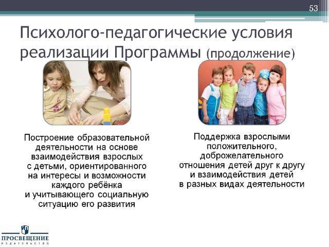 Психолого-педагогические условия реализации Программы (продолжение)