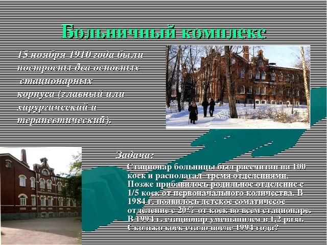 Больничный комплекс Задача: Стационар больницы был рассчитан на 100 коек и ра...