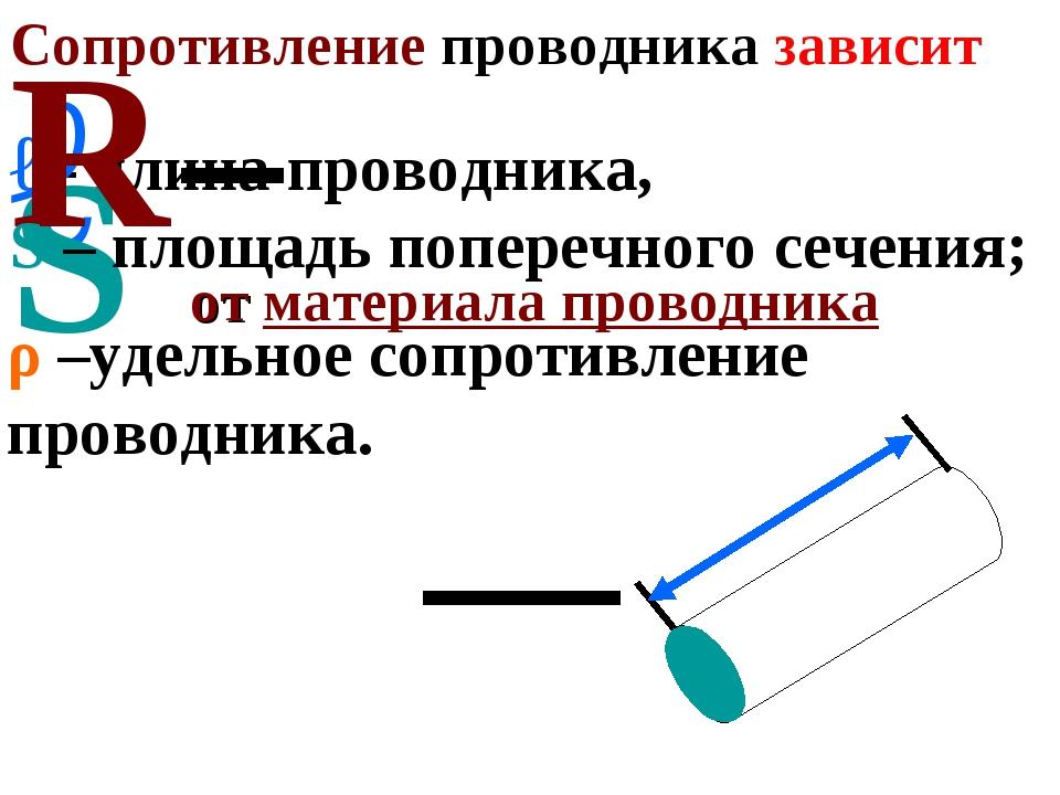 Сопротивление проводника зависит . от геометрических размеров ℓ - длина прово...