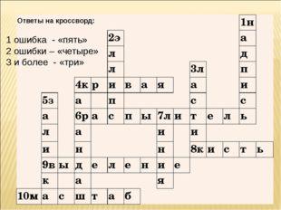Ответы на кроссворд: 1 ошибка - «пять» 2 ошибки – «четыре» 3 и более - «три»