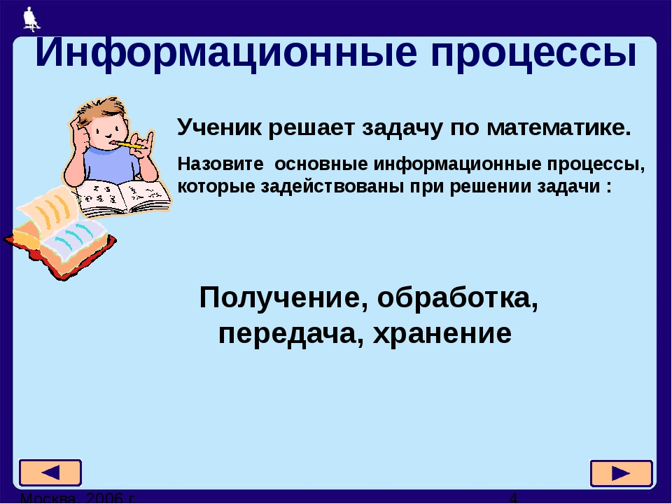Москва, 2006 г. Информационные процессы Ученик решает задачу по математике. Н...