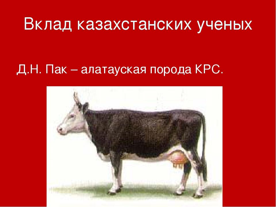 Вклад казахстанских ученых Д.Н. Пак – алатауская порода КРС.