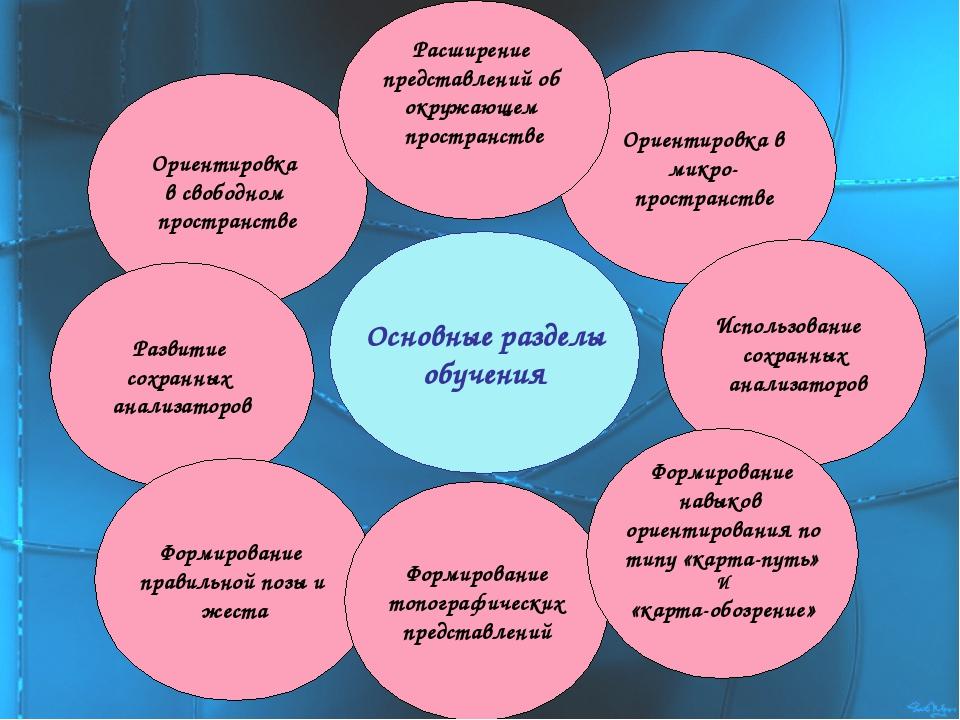 Основные разделы обучения Ориентировка в свободном пространстве Развитие сохр...