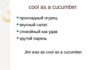 cool as a cucumber прохладный огурец вкусный салат спокойный как удав крутой