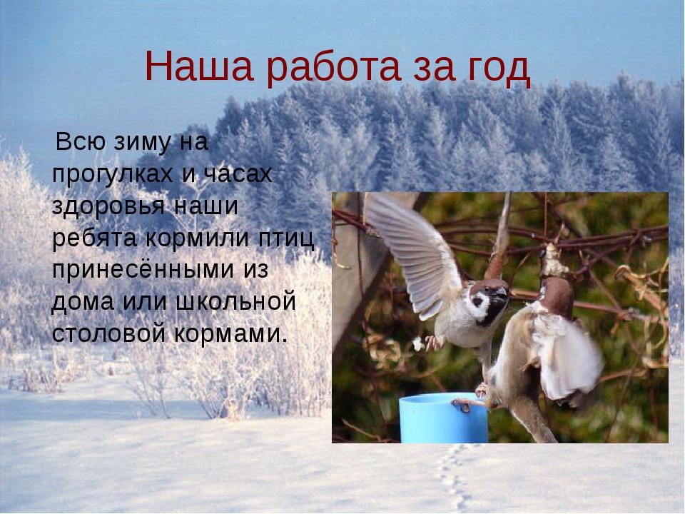 Наша работа за год Всю зиму на прогулках и часах здоровья наши ребята кормили...