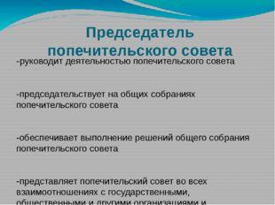 Председатель попечительского совета -руководит деятельностью попечительского