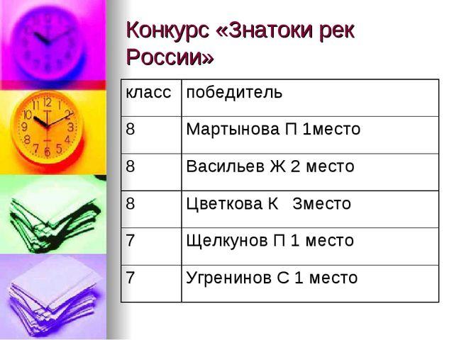 Конкурс «Знатоки рек России»