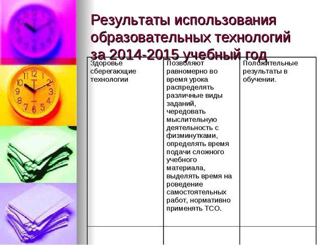 Результаты использования образовательных технологий за 2014-2015 учебный год