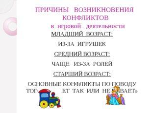 ПРИЧИНЫ   ВОЗНИКНОВЕНИЯ   КОНФЛИКТОВ    в  игровой   деятельности МЛАДШИЙ  В