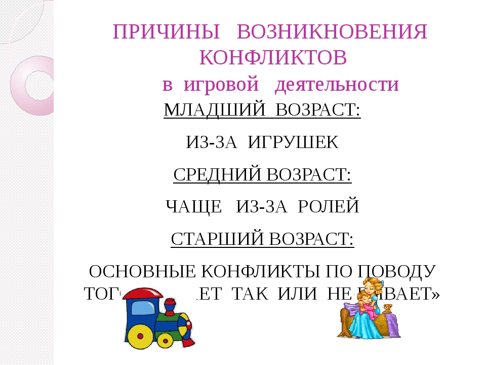 ПРИЧИНЫ   ВОЗНИКНОВЕНИЯ   КОНФЛИКТОВ    в  игровой   деятельности МЛАДШИЙ  В...