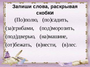 Запиши слова, раскрывая скобки (По)полю, (по)садить, (за)грибами, (под)морози