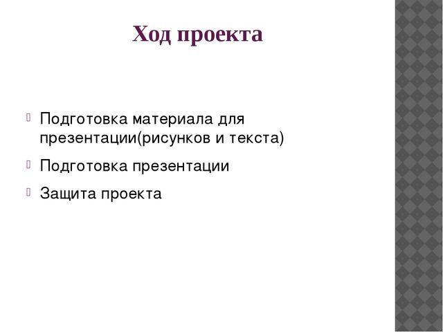 Ход проекта Подготовка материала для презентации(рисунков и текста) Подготовк...