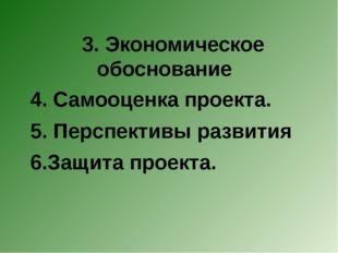 3. Экономическое обоснование 4. Самооценка проекта. 5. Перспективы развития