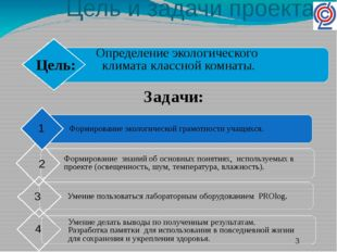 Цель и задачи проекта. Определение экологического климата классной комнаты. З