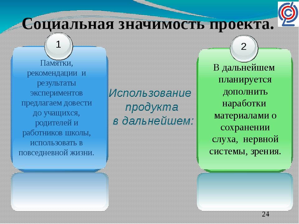 Использование продукта в дальнейшем: Социальная значимость проекта. 1 Памятки...