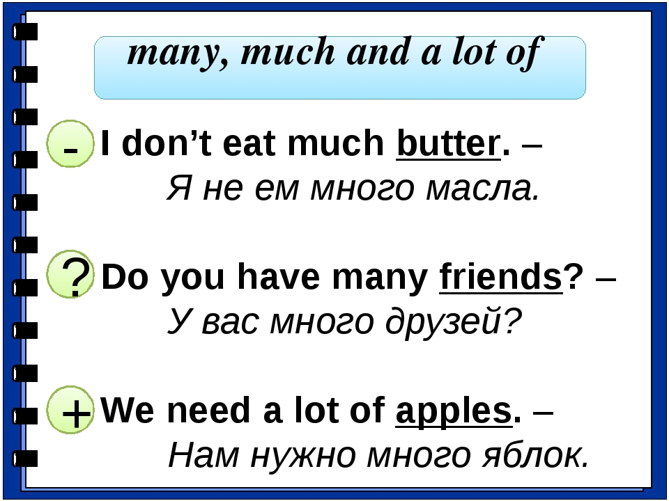 many, much and a lot of I don't eat much butter. – 		Я не ем много масла. Do...