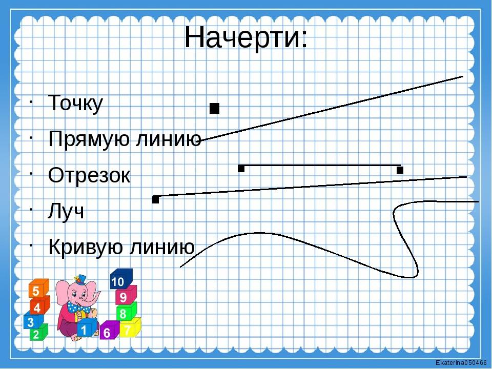 Начерти: Точку Прямую линию Отрезок Луч Кривую линию . . . . Ekaterina050466