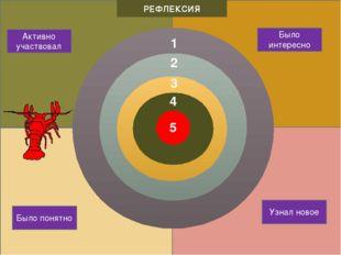 4 3 2 Активно участвовал РЕФЛЕКСИЯ Было интересно Узнал новое Было понятно 5 1