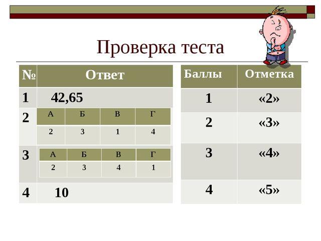 Проверка теста №Ответ 1 42,65 2 3  4 10 АБВГ 2314 АБВГ 234...