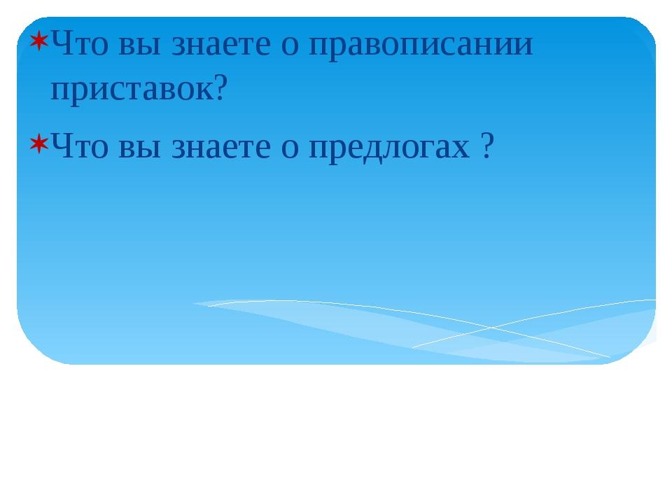 Что вы знаете о правописании приставок? Что вы знаете о предлогах ?