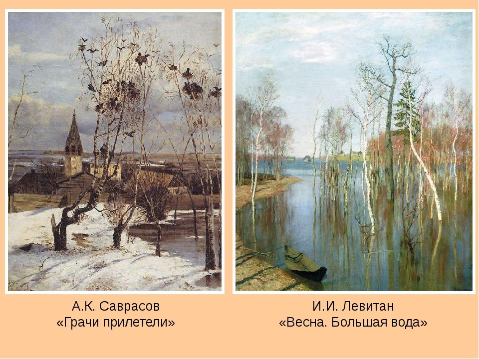 А.К. Саврасов «Грачи прилетели» И.И. Левитан «Весна. Большая вода»