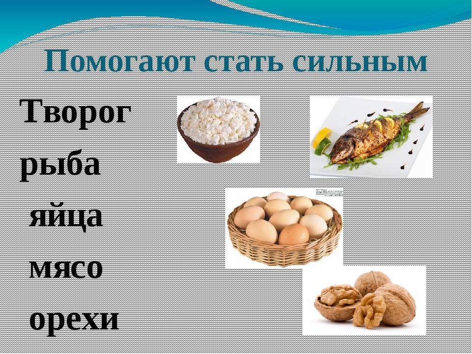 Помогают стать сильным Творог рыба яйца мясо орехи