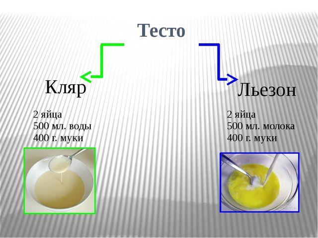 Тесто Кляр Льезон 2 яйца 500мл. воды 400 г. муки 2яйца 500 мл. молока 400 г....