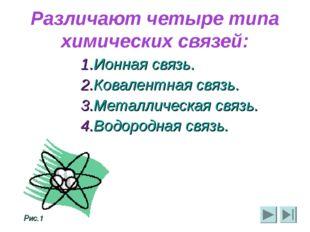 Различают четыре типа химических связей: Ионная связь. Ковалентная связь. Мет