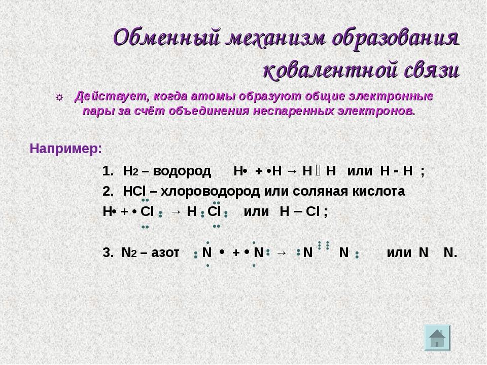 Обменный механизм образования ковалентной связи ☼ Действует, когда атомы обра...