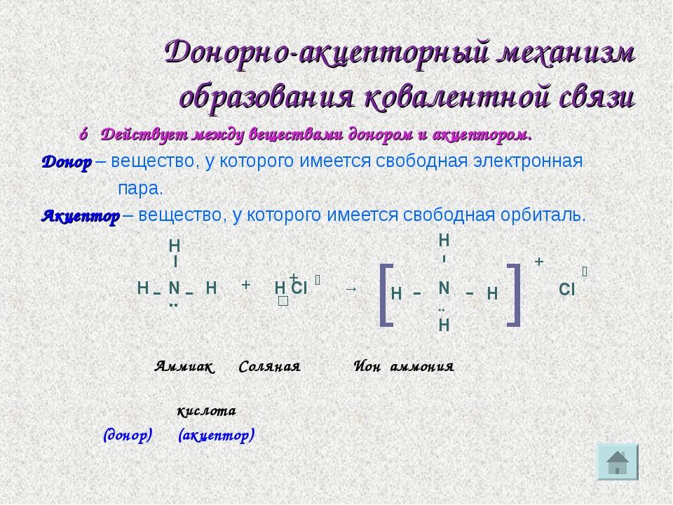 Донорно-акцепторный механизм образования ковалентной связи ☼ Действует между...