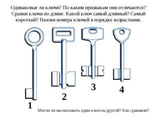 Одинаковые ли ключи? По каким признакам они отличаются? Сравни ключи по длине