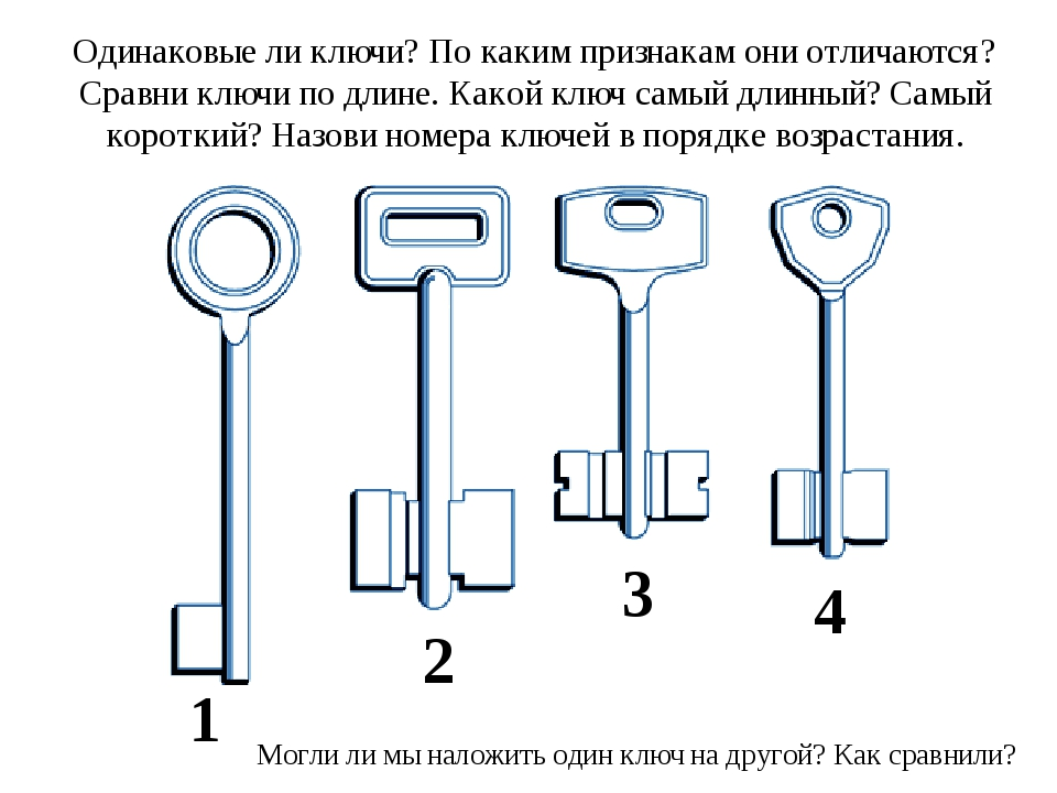 Одинаковые ли ключи? По каким признакам они отличаются? Сравни ключи по длине...