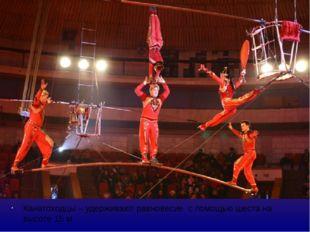 Канатоходцы – удерживают равновесие с помощью шеста на высоте 15 м. Выдвигая