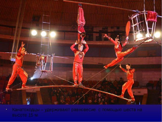Канатоходцы – удерживают равновесие с помощью шеста на высоте 15 м. Выдвигая...