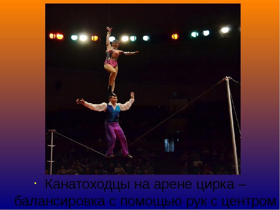 Канатоходцы на арене цирка – балансировка с помощью рук с центром тяжести мас...