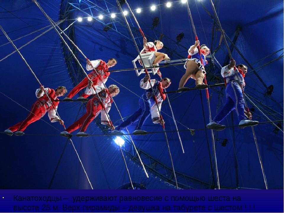 Канатоходцы – удерживают равновесие с помощью шеста на высоте 25 м. Верх пира...