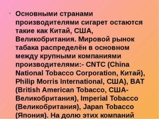 Основными странами производителями сигарет остаются такие как Китай, США, Вел
