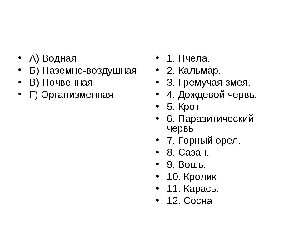 А) Водная Б) Наземно-воздушная В) Почвенная Г) Организменная