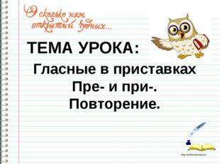 Гласные в приставках Пре- и при-. Повторение. ТЕМА УРОКА: http://ku4mina.uco