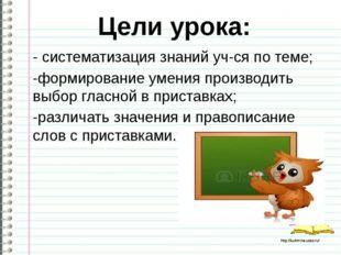 -систематизация знаний уч-ся по теме; -формирование умения производить выбор